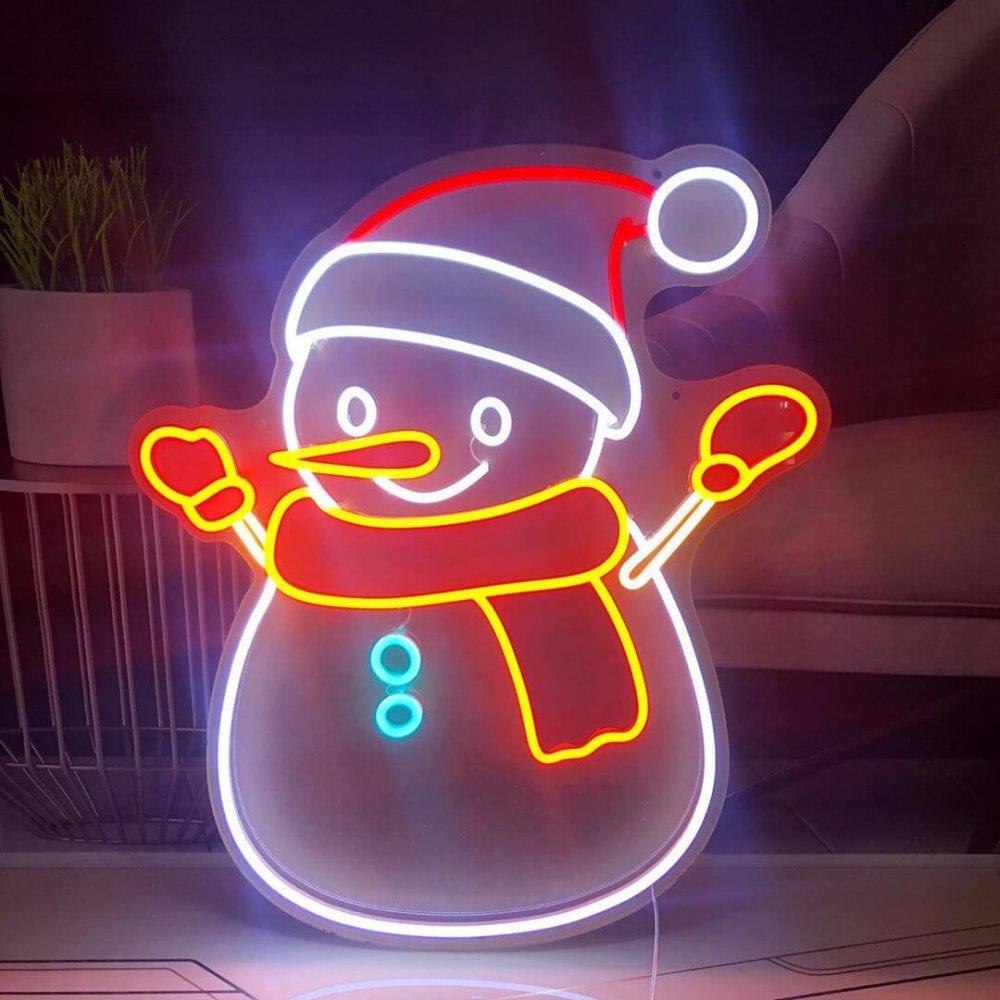 snowman neon sign