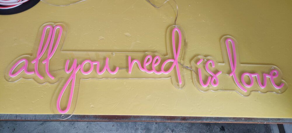 all you need is love pink led neon sign