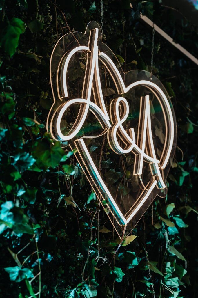 wedding letters neon sign