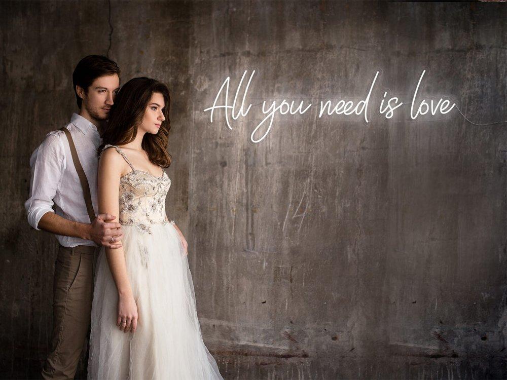 all you need is love wedding neon
