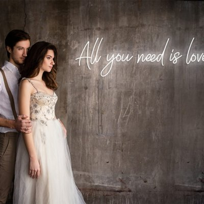 all you need is love wedding neon