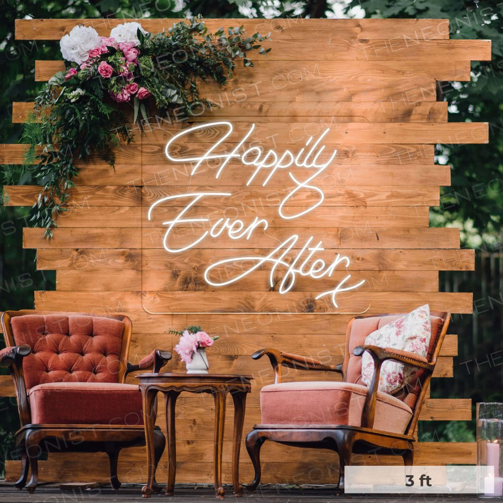 happily-ever-after wedding neon