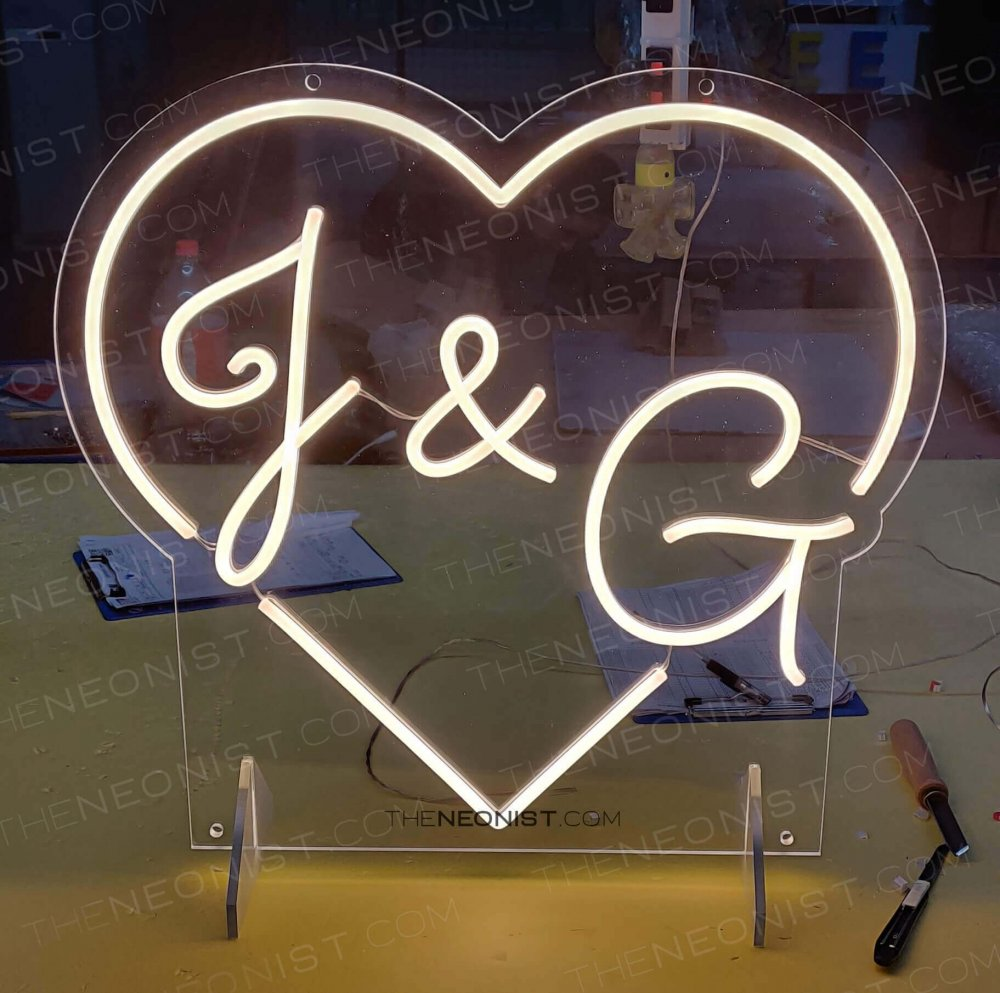 heart initials wedding neon sign