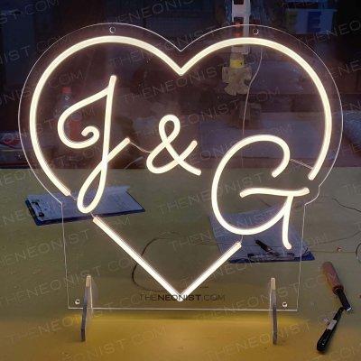 heart initials wedding neon sign