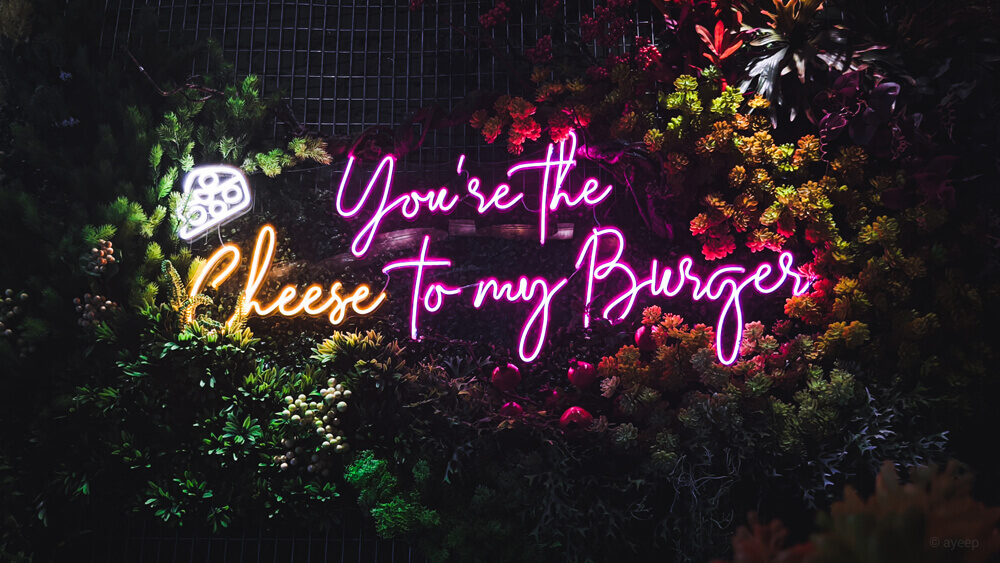 you are the cheese to my burger led neon sign